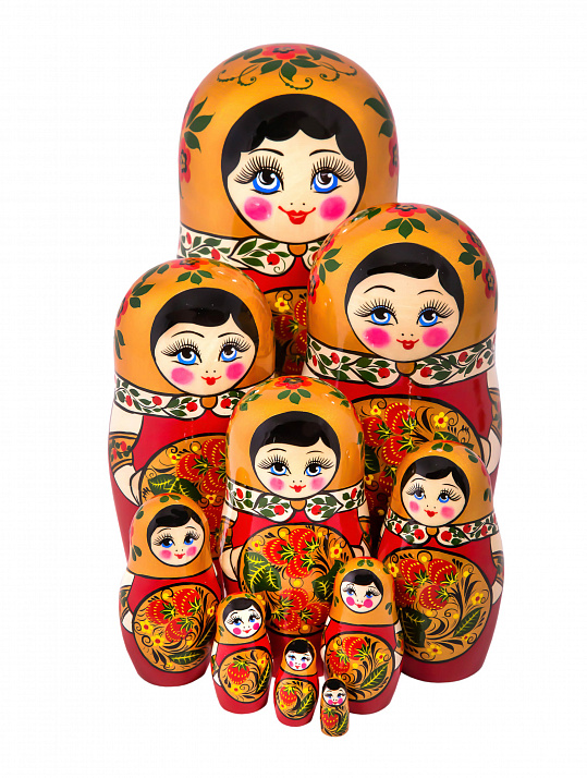 Matryoshka with khokhloma painting 10 pcs