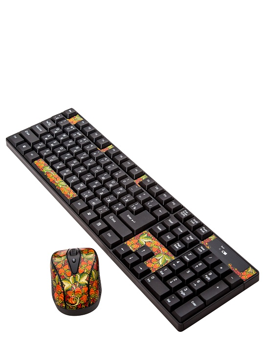 Set keyboard and computer mouse with khokhloma painting